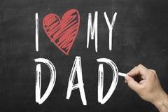 Amour de l'écriture i de main mes mots de papa pour la célébration heureuse de jour du ` s de père Images libres de droits