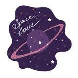 Amour de l'espace Affiche mignonne avec une citation romantique illustration stock