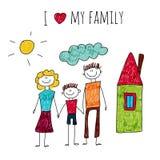 Amour de l'illustration I de vecteur ma famille Image libre de droits