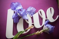 AMOUR de lettres avec des fleurs d'iris Image stock