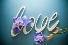 AMOUR de lettres avec des fleurs d'iris Images stock