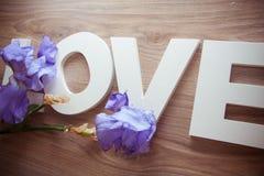 AMOUR de lettres avec des fleurs d'iris Photographie stock libre de droits