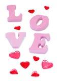 Amour de lettres, sucreries, chocolat Photo stock