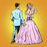 Amour de mariage de jeune mariée de marié illustration libre de droits