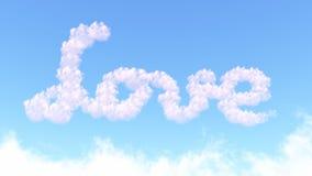Amour de mot des nuages Images libres de droits
