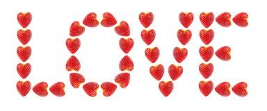 Amour de mot fait de fraises photographie stock libre de droits