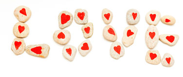 Amour de mot présenté des pierres Image stock