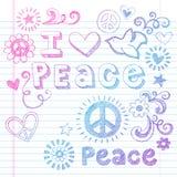 Amour de paix et vecteur peu précis de griffonnages de colombe illustration de vecteur