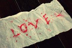 Amour de papier de mot Photographie stock libre de droits