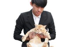 Amour de personnes de chat sur le fond blanc Images libres de droits