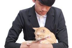 Amour de personnes de chat sur le fond blanc Photo libre de droits