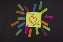 Amour de post-it Photographie stock