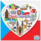 Amour de République Tchèque Dirigez les icônes et l'ensemble de symboles de points de repère sous la forme de coeur Photos libres de droits