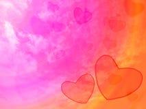 amour de radience de tache floue de coeur du rose deux et ciel rose de coeur Image stock