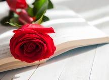 Amour de romance de Rose et de livre Photos libres de droits