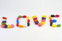 AMOUR de signe de bonbon mou de sucrerie Photos stock