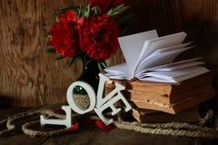 Amour de vieux livre et de mot Images stock