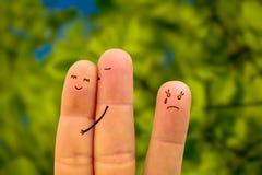 Amour de visage de doigt trahi et jalousie Images libres de droits