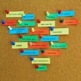Amour de Word écrit en différentes langues Photo stock