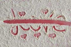 Amour de Word écrit et biffé Image stock