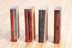 AMOUR de Word, écrit les lettres texturisées en bois Images libres de droits