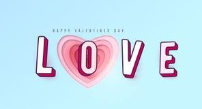 Amour de Word avec des lettres de l'effet 3d Le papier de coeur a coupé des couches roses rouges multi de couleur Image libre de droits