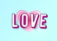 Amour de Word avec des lettres de l'effet 3d Le papier de coeur a coupé des couches roses rouges multi de couleur Images libres de droits