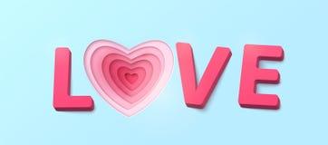 Amour de Word avec des lettres de plastique de l'effet 3d Couches roses rouges de couleur coupées par papier de coeur Images stock