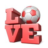 AMOUR de Word avec du ballon de football 3D du football Images stock