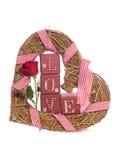 Amour de Word avec la rose et le coeur de rouge Image stock