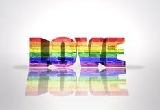 Amour de Word avec le drapeau d'homosexuel d'arc-en-ciel illustration libre de droits
