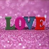 Amour de Word avec le fond éclatant Photos libres de droits