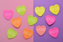 Amour de Word dans différentes langues Photos libres de droits