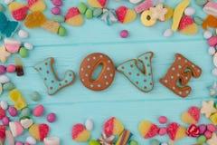Amour de Word dans le cadre des sucreries Photo stock