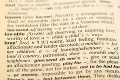 Amour de Word dans un dictionnaire Photos libres de droits