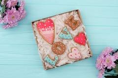 Amour de Word des biscuits cuits au four Photographie stock libre de droits