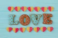 Amour de Word des biscuits cuits au four Image stock