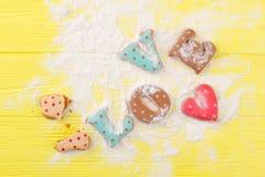 Amour de Word des biscuits, poudre de sucre Photos libres de droits