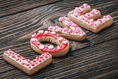 Amour de Word des biscuits pour les vacances Photo stock