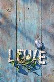 Amour de Word des dominos en bois Photo libre de droits
