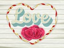 Amour de Word des plats en bois de vieux vintage ENV 10 Images libres de droits