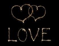 Amour de Word et deux coeurs Photo stock