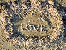 Amour de Word fait à partir des pierres de mer Photos libres de droits