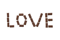 Amour de Word fait de bonbons au chocolat Photos libres de droits