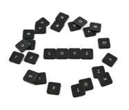 Amour de Word fait de boutons de clavier d'isolement Images stock