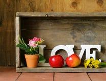 Amour de Word fait de lettres en bois blanches Image stock