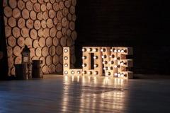 AMOUR de Word illuminé avec grandes lettres Photos libres de droits