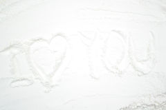 Amour de Word sur la farine Photos libres de droits