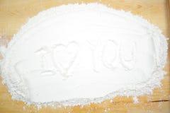 Amour de Word sur la farine Photographie stock