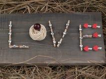 Amour de Word sur le conseil en bois Photos stock